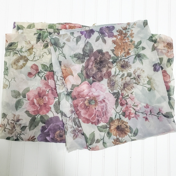Cottage Granny Antiqued Sheer floral curtains